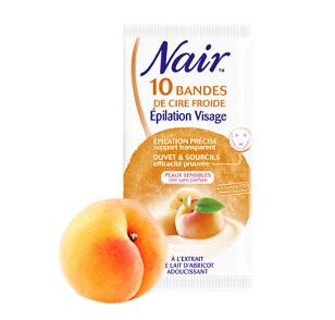 Bandes de Cire Froide  spécial Visage aux extraits de lait d'abricot adoucissant