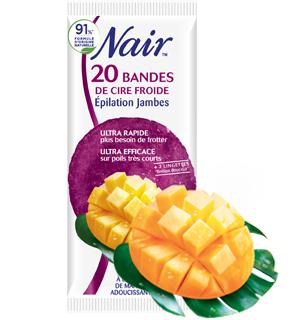 Bandes de cire froide à l'extrait de mangue adoucissante