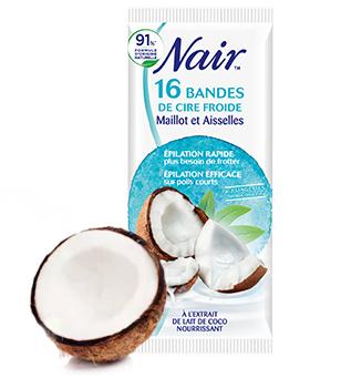 Bandes de Cire Froide Maillot et Aisselles à l'extrait de lait de coco nourrissant